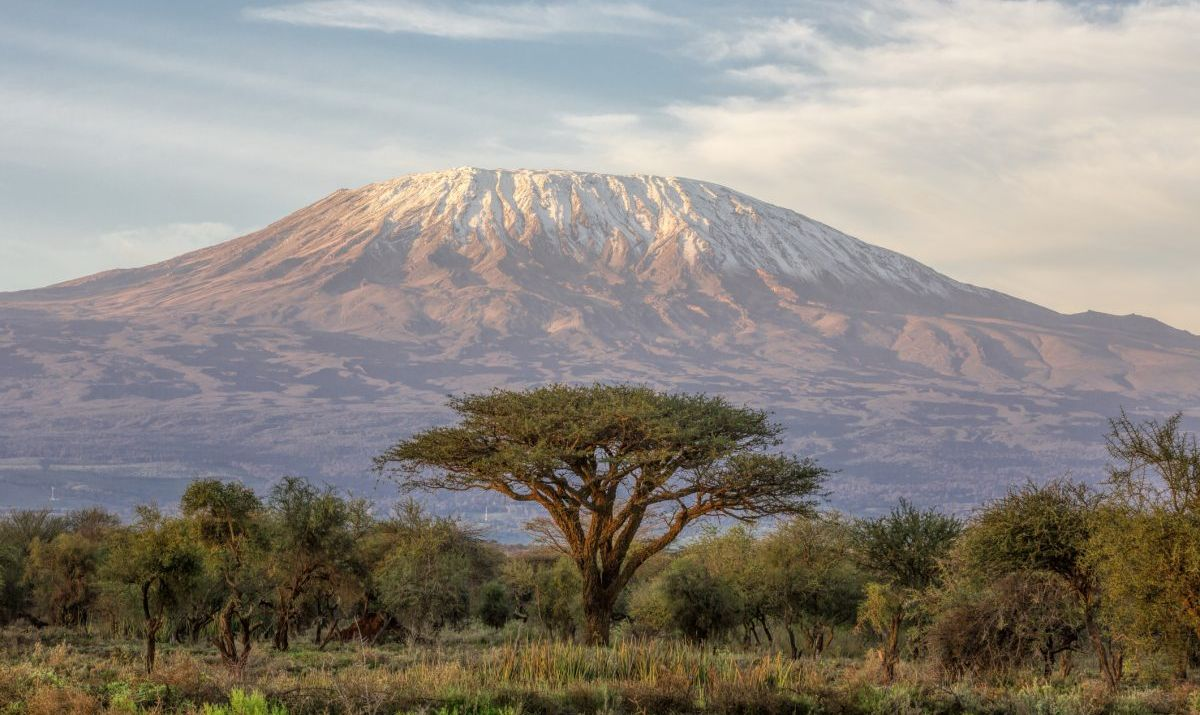 Distant image of Mount Kilimanjaro in northern Tanzania