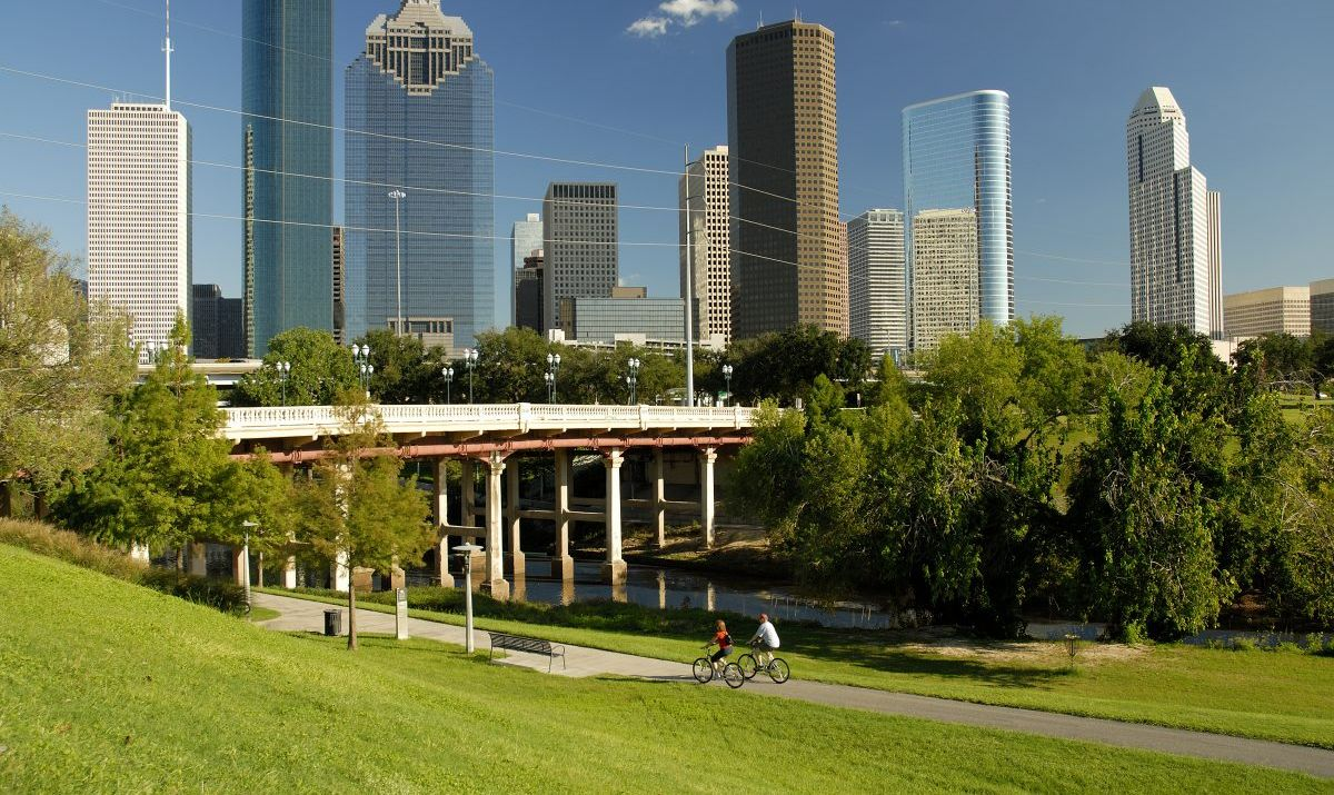 You can enjoy a scenic ride through Buffalo Bayou park on a rented bicycle.