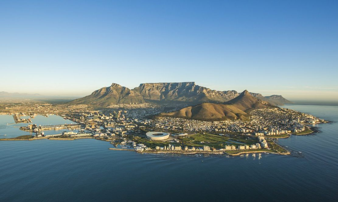 Landscape view of Table Mountain, South Africa.