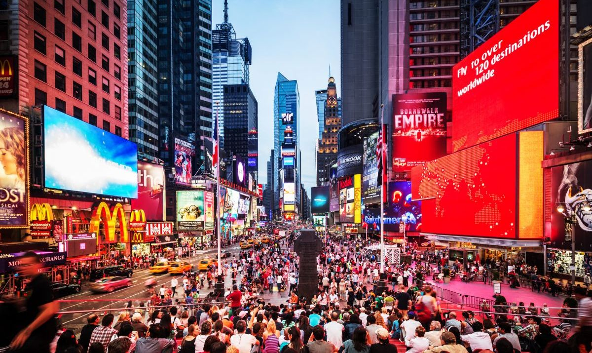 A great shot of lively, energetic Times Square
