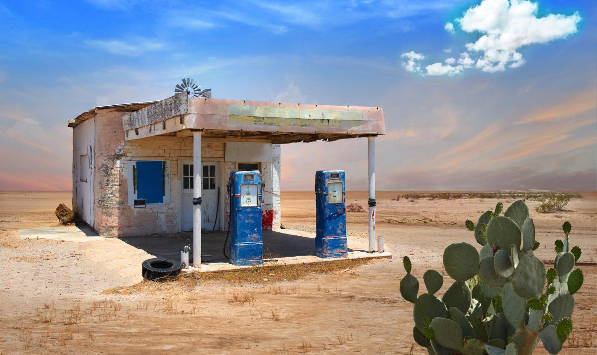 Along Route 66, you'll pass abandoned service stations and ghost towns.