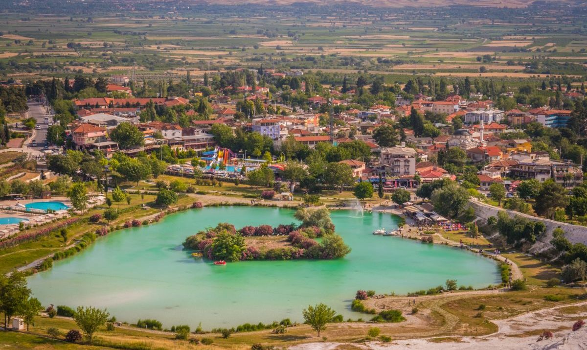 An aerial shot of Pamukkale