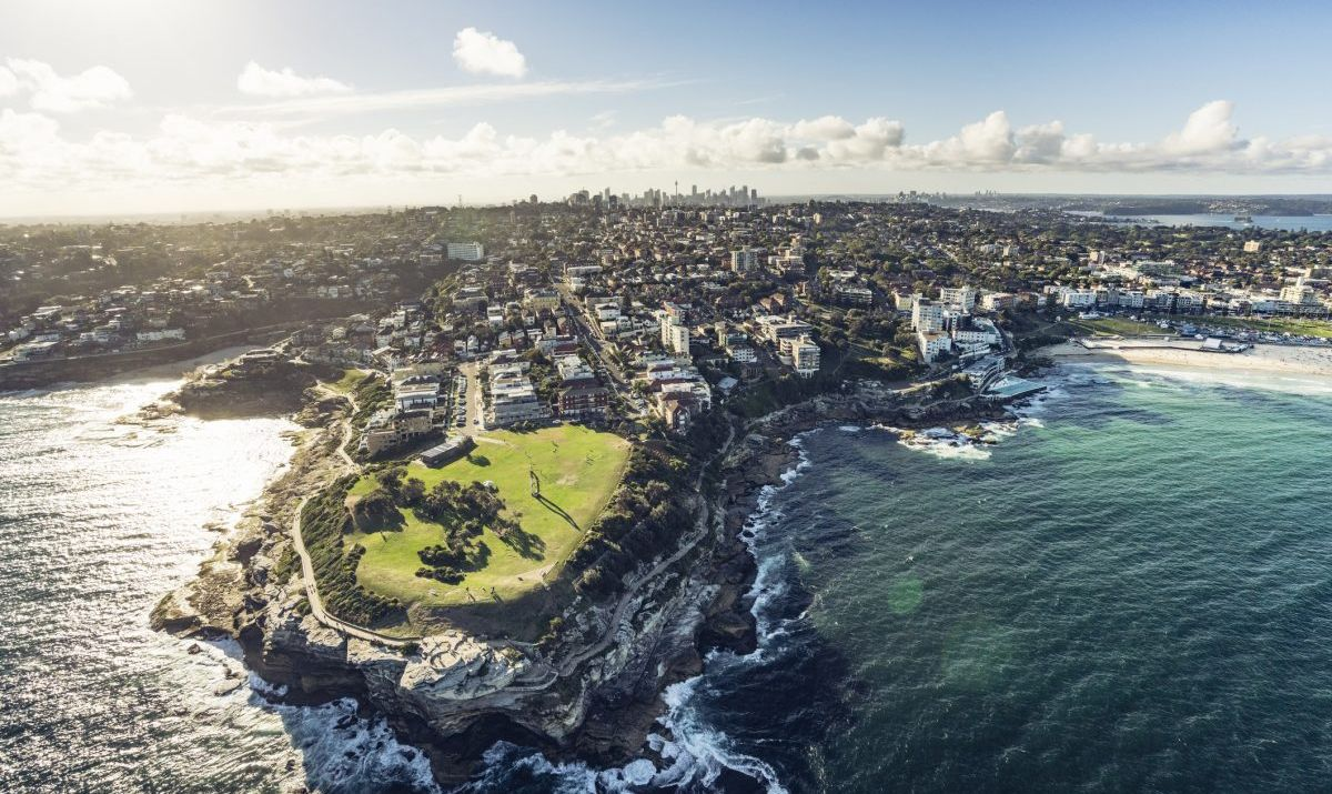 An aerial shot of South Head