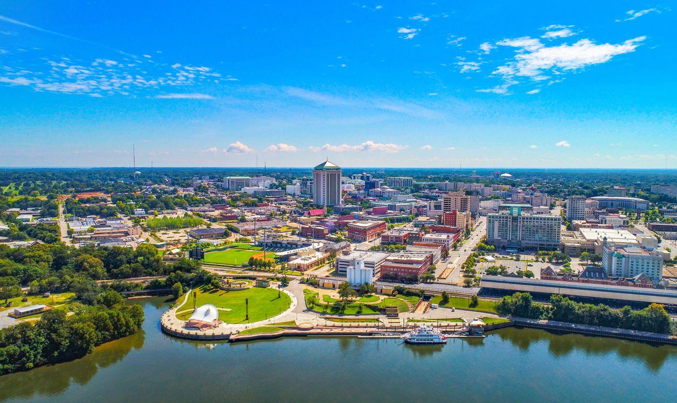 Montgomery Alabama Riverfront Park Skyline Aerial