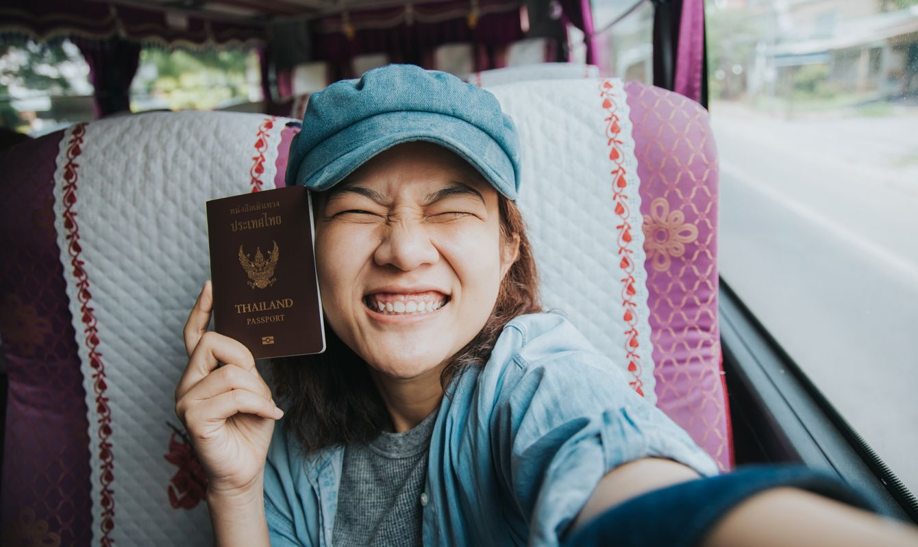 Holiday, woman, trip, travel, bus, passport, happiness, using phone, positive emotion, communication, transportation