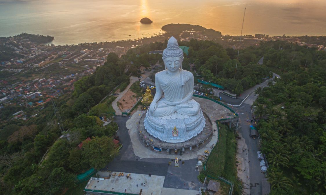 scenery sunset behind Phuket big Buddha