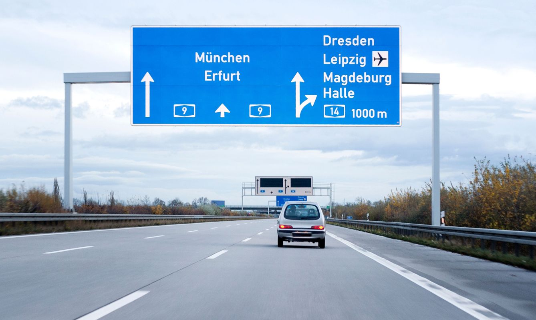 Road sign on german autobahn