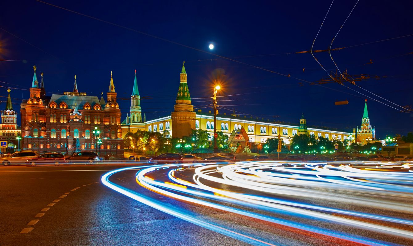Moscow Kremlin, view from Tverskaya street at dusk.