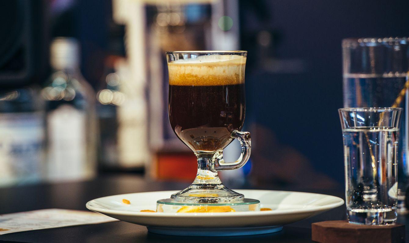 An Irish coffee on display