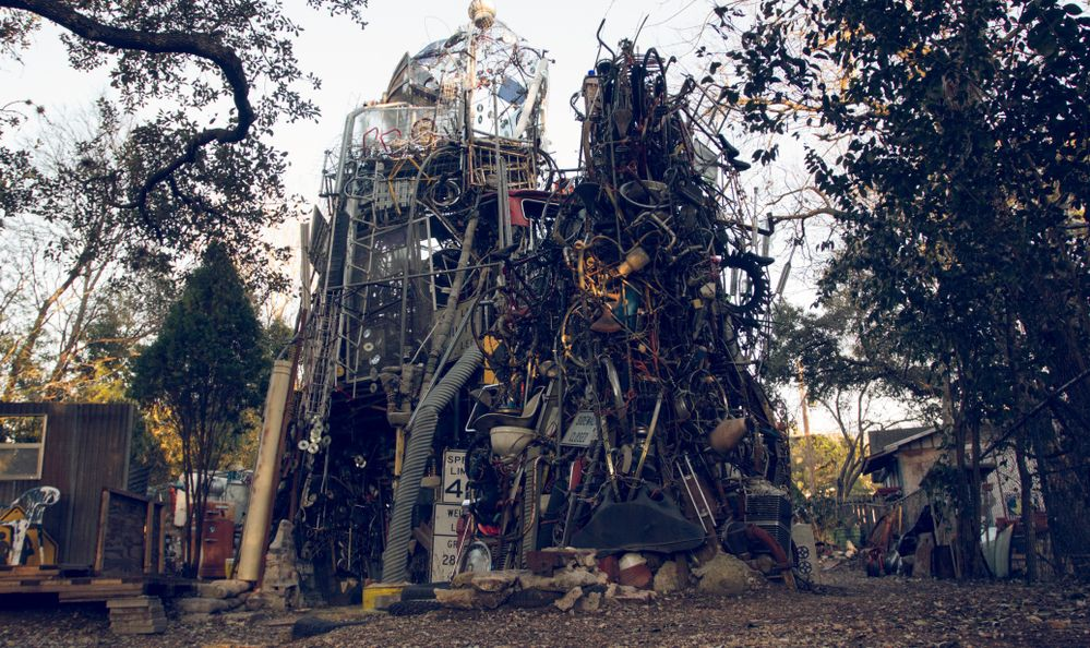 A view of the Cathedral of Junk, a unique structure made up from other people rubbish, in downtown Austin, Texas