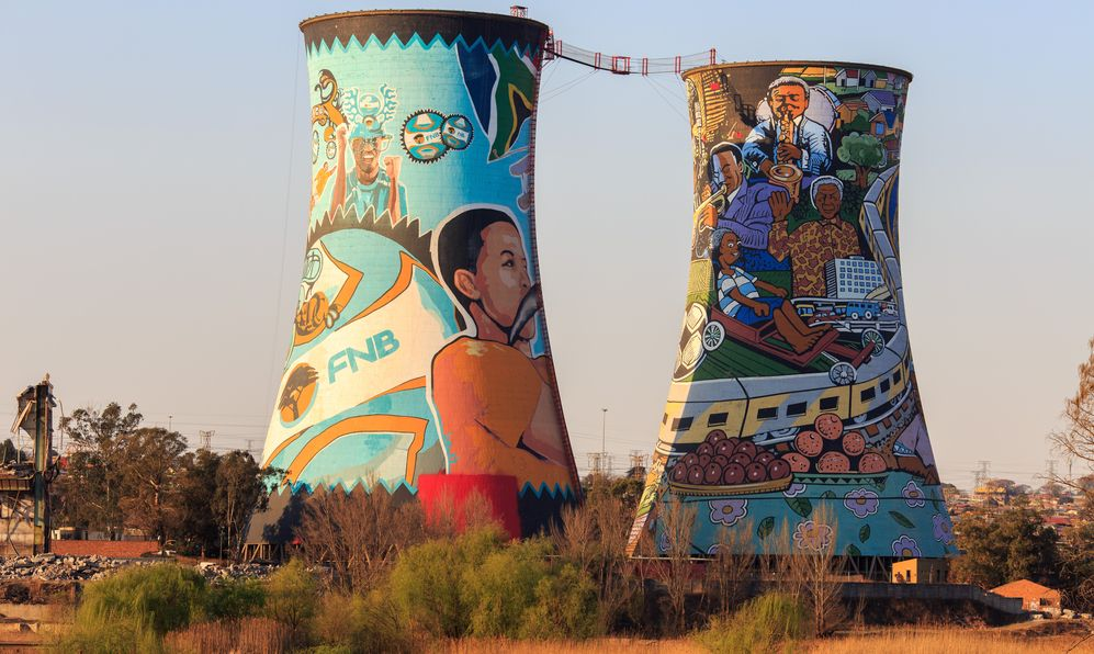 Orlando towers are a famous landmark of Soweto, the township of Johannesburg.