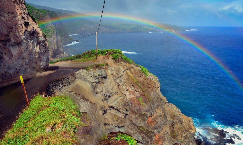 Hawaii Maui Hana coast road highway rainbow A
