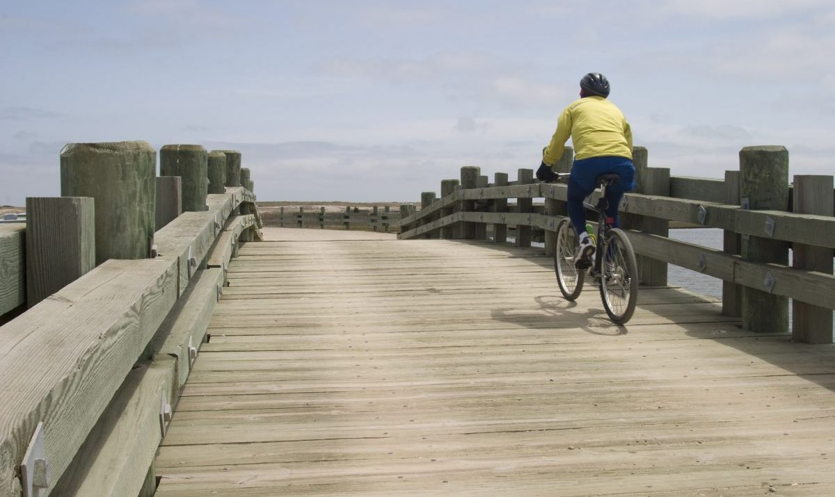 Riding a bike on Chappaquiddick Island, Martha's Vineyard.