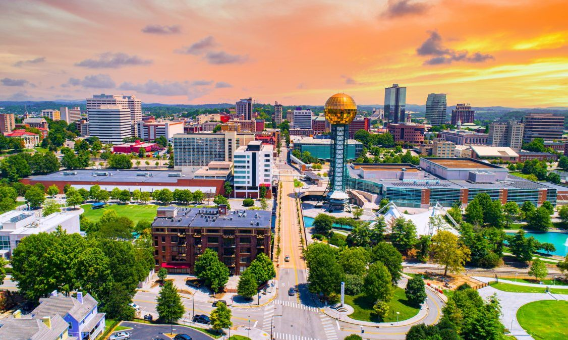 An aerial view of Nashville