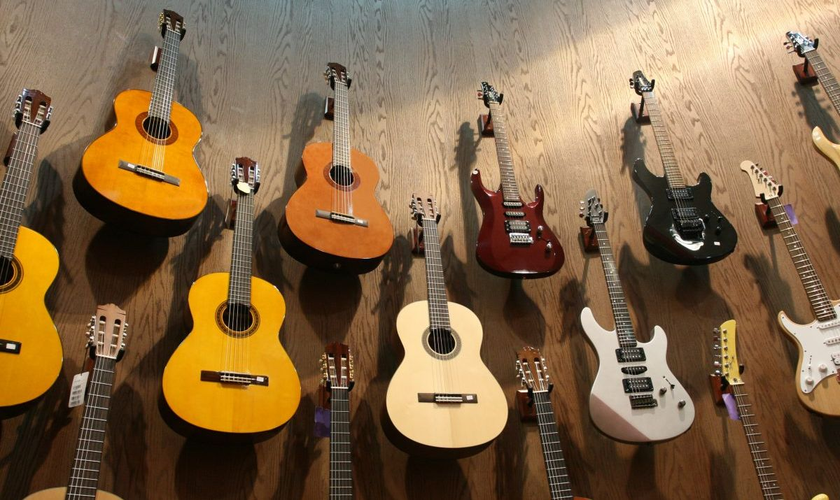 A large guitar collection