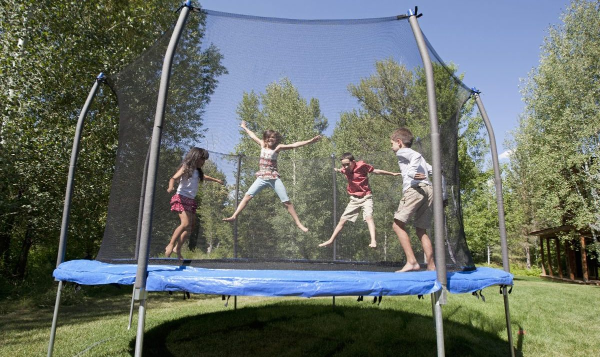 Kids having fun on a trampoline
