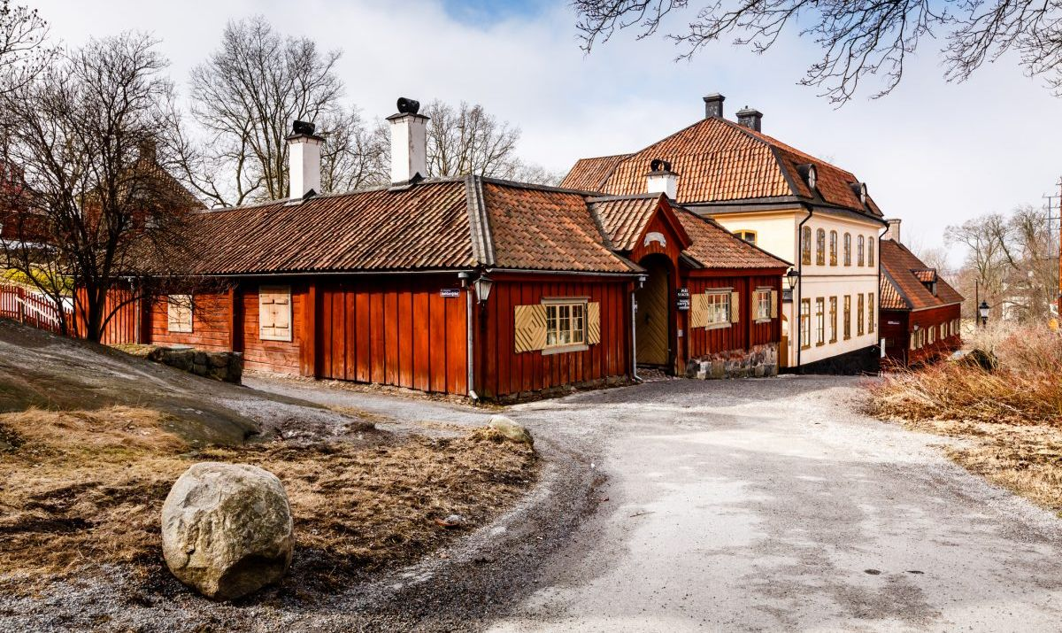 Traditional Swedish houses in the open air museum of Skansen, Stockholm.