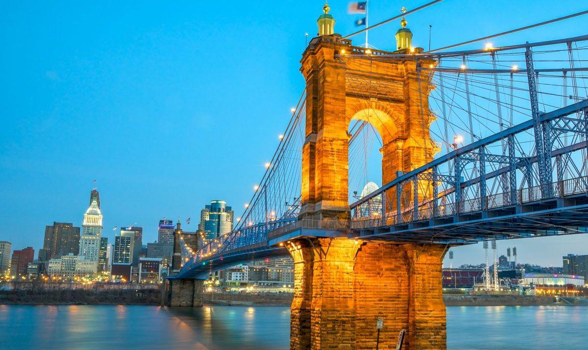 Roebling Suspension Bridge Ohio River Trail Cincinnati