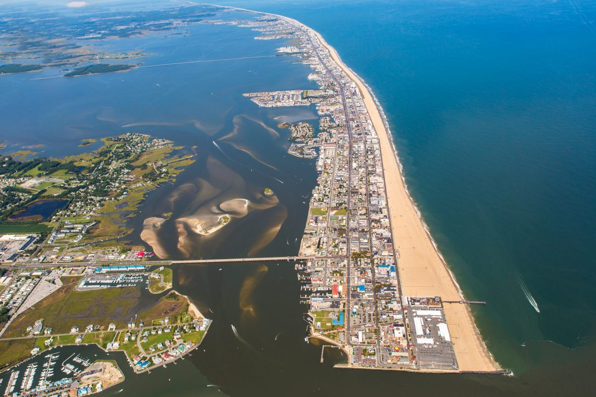 An aerial view of Ocean City