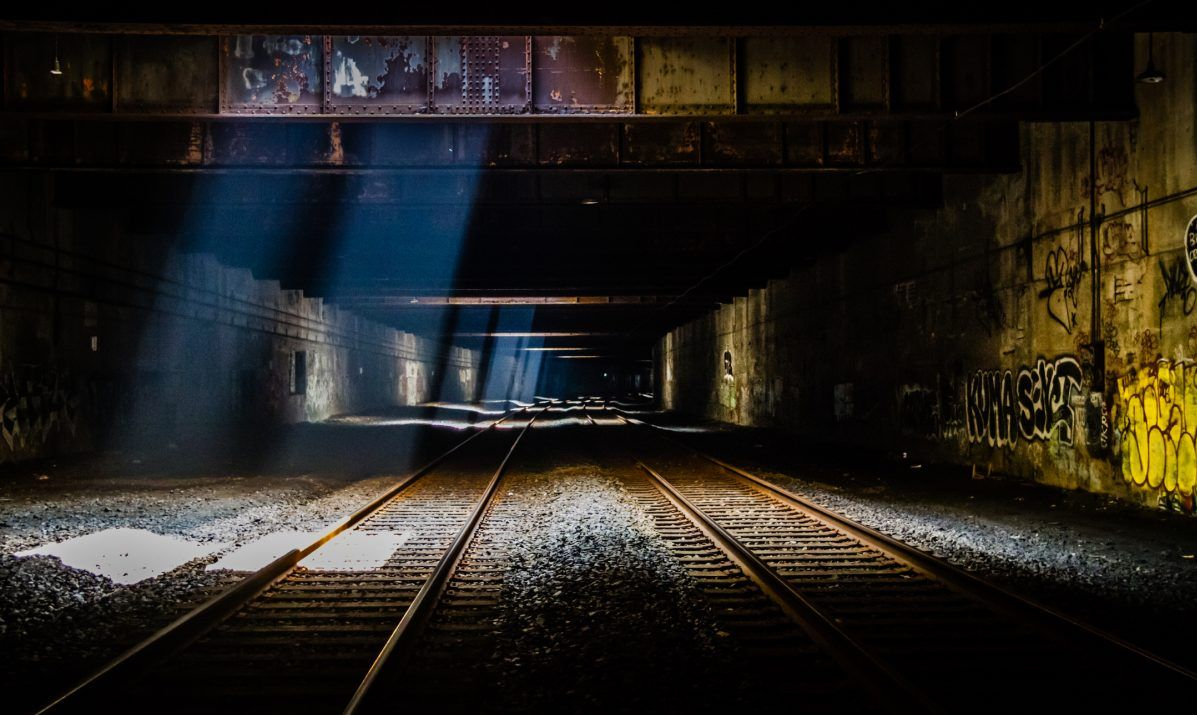 An abandoned train tunnel