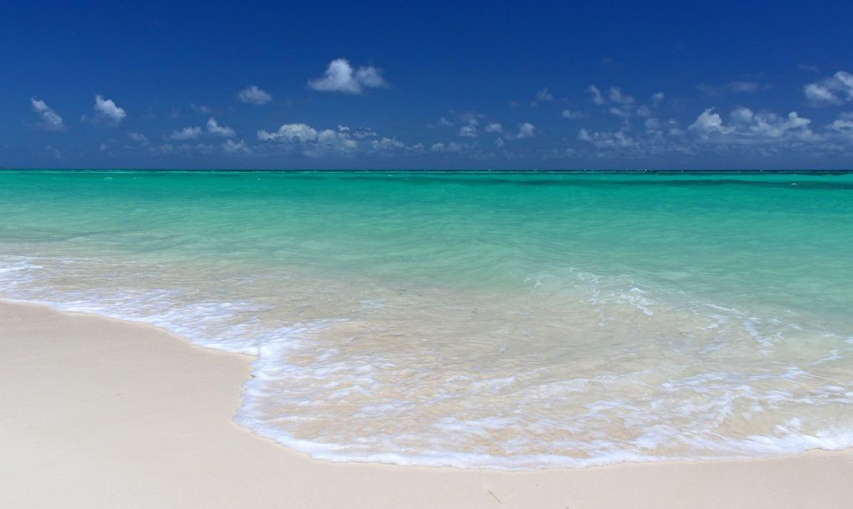 The perfect colors of Cable Beach near Nassau in the Bahamas.