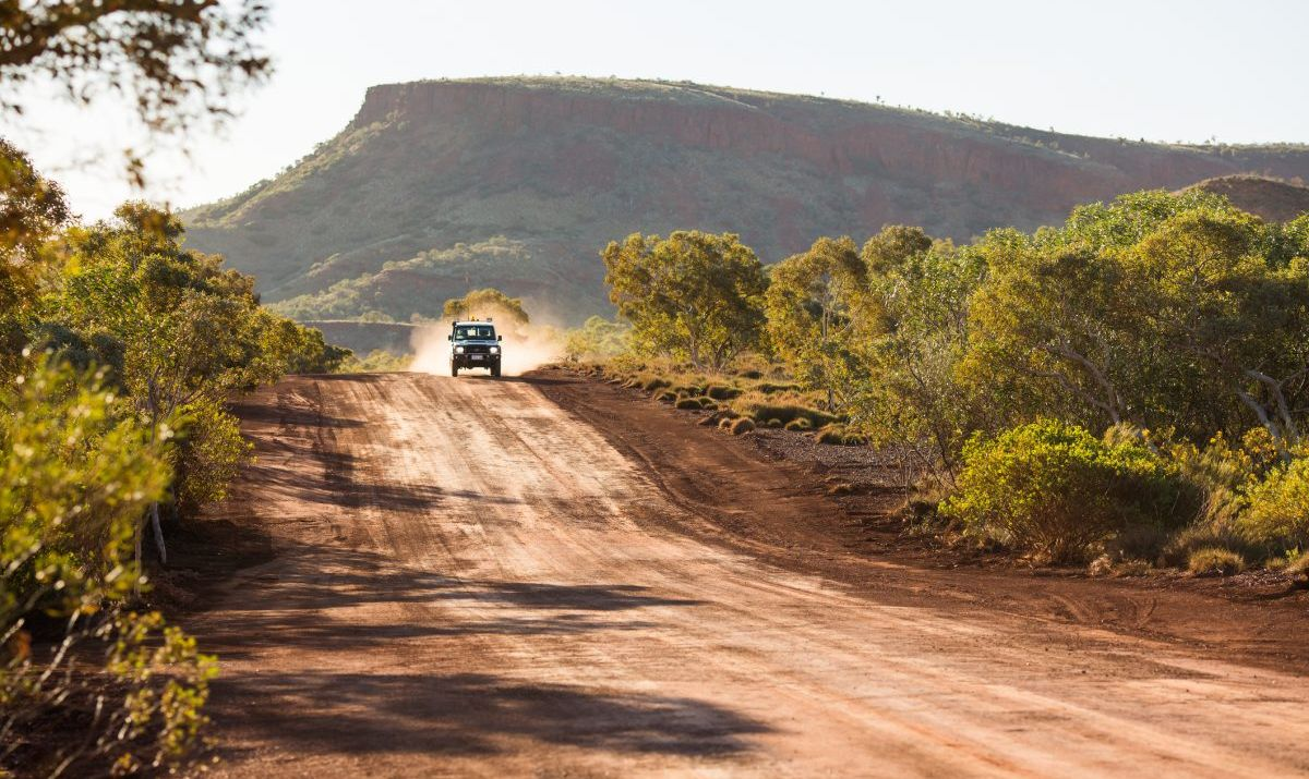 A car blazing through the Outback