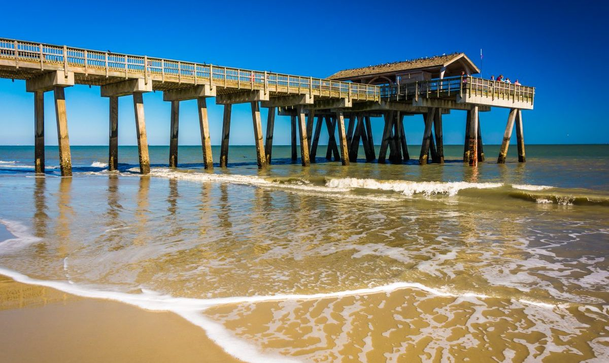 Tybee Island beach and pier