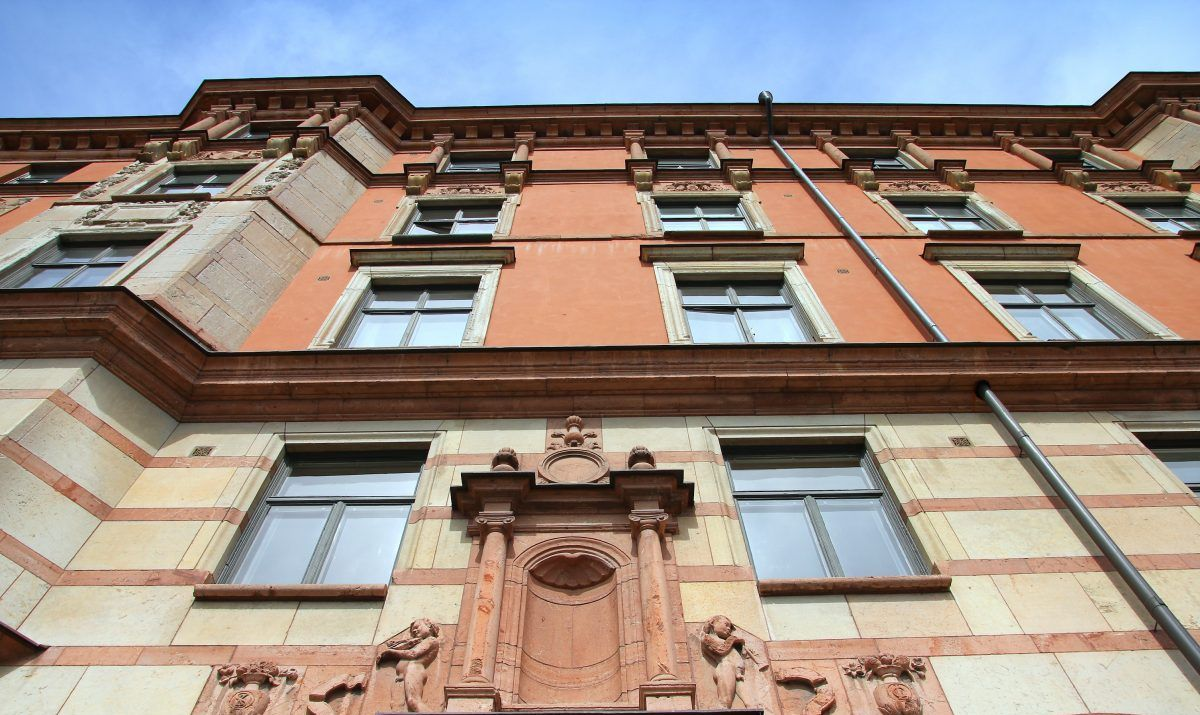 Distinctive architectural flourishes on buildings in the Ostermalm district.