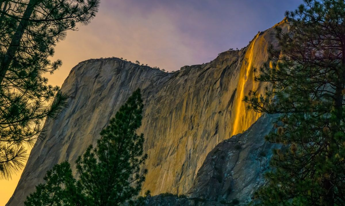The natural phenomena known as the Firefall occurs at Horsetail Falls in Yosemite.