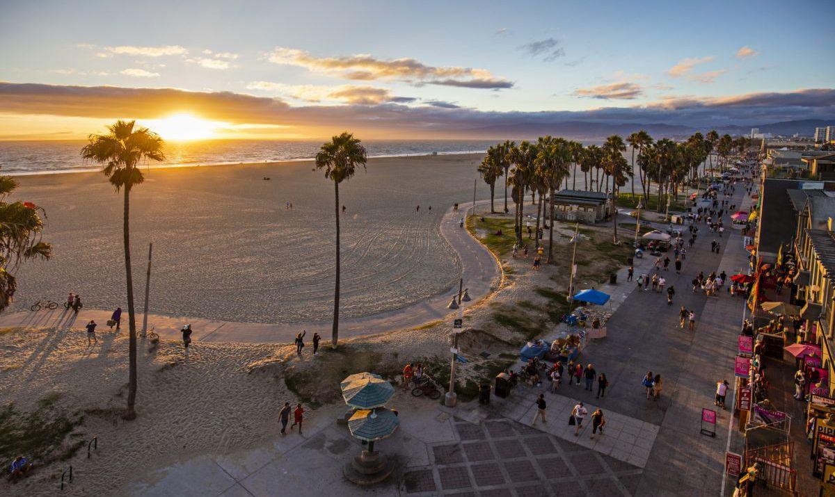 Footpath along Venice Beach at sunset.