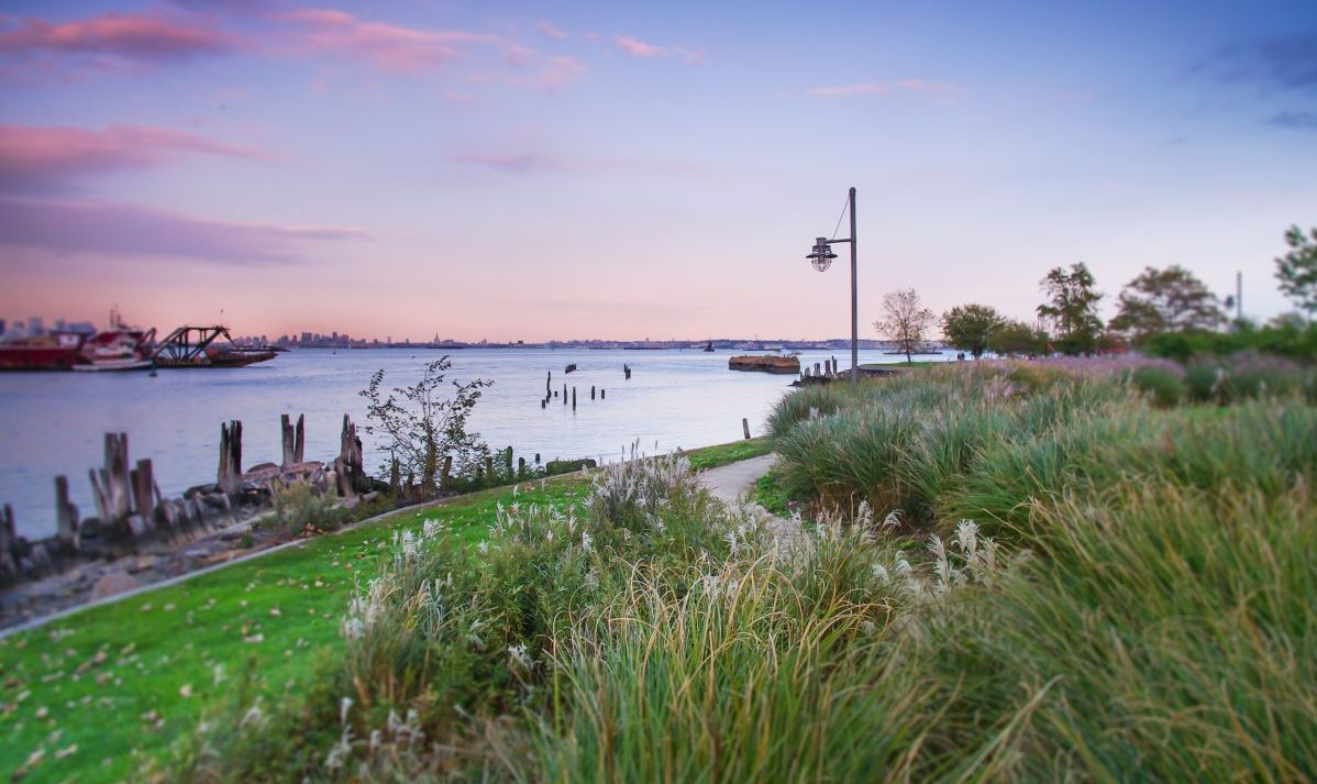 The waterfront promenade in Saint George provide scenic views of Manhattan.