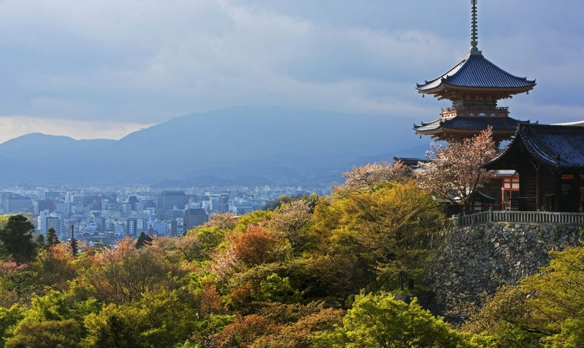 The Kiyomizu-dera Temple complex is surrounded by the natural beauty of streams, waterfalls and forests.