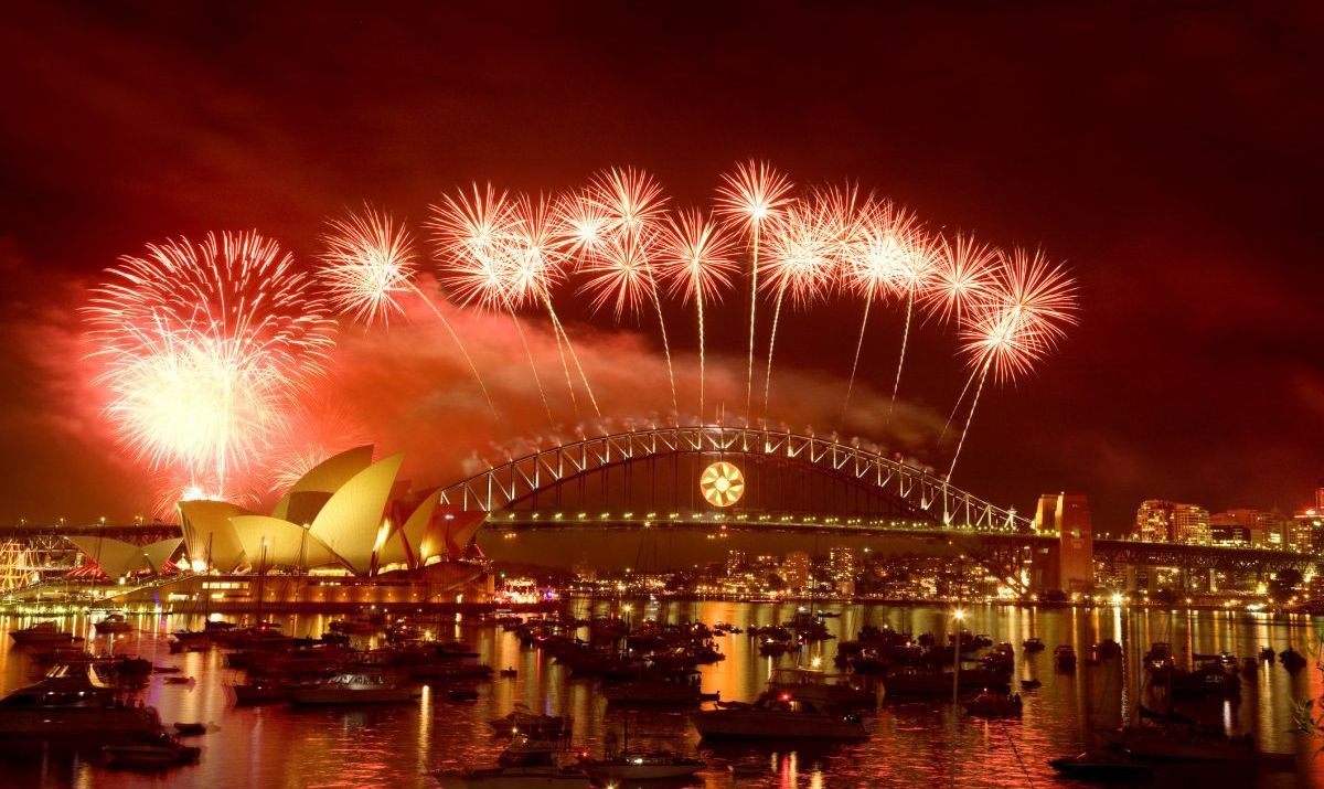 A firework celebration at the Sydney Opera House on New Years Eve