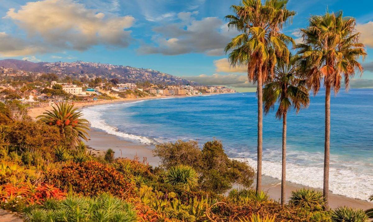 The coastline of Laguna Beach in Orange County, California.