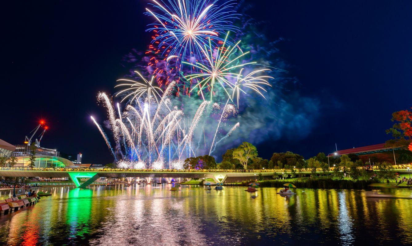 Australia Day fireworks in Adelaide City