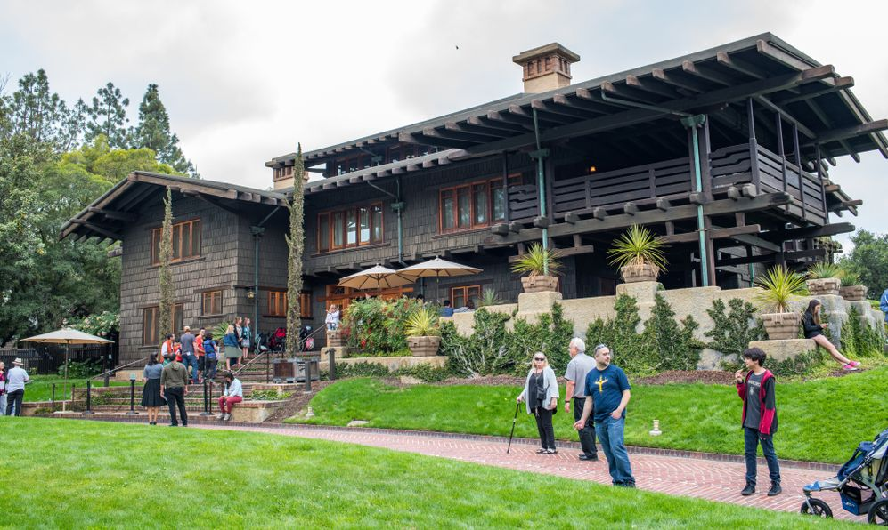 "Back to the Future fans at the Gamble House in Pasadena. The Gamble House was the home of Dr. Emmett Brown in the cult favorite film ""Back to the Future."""