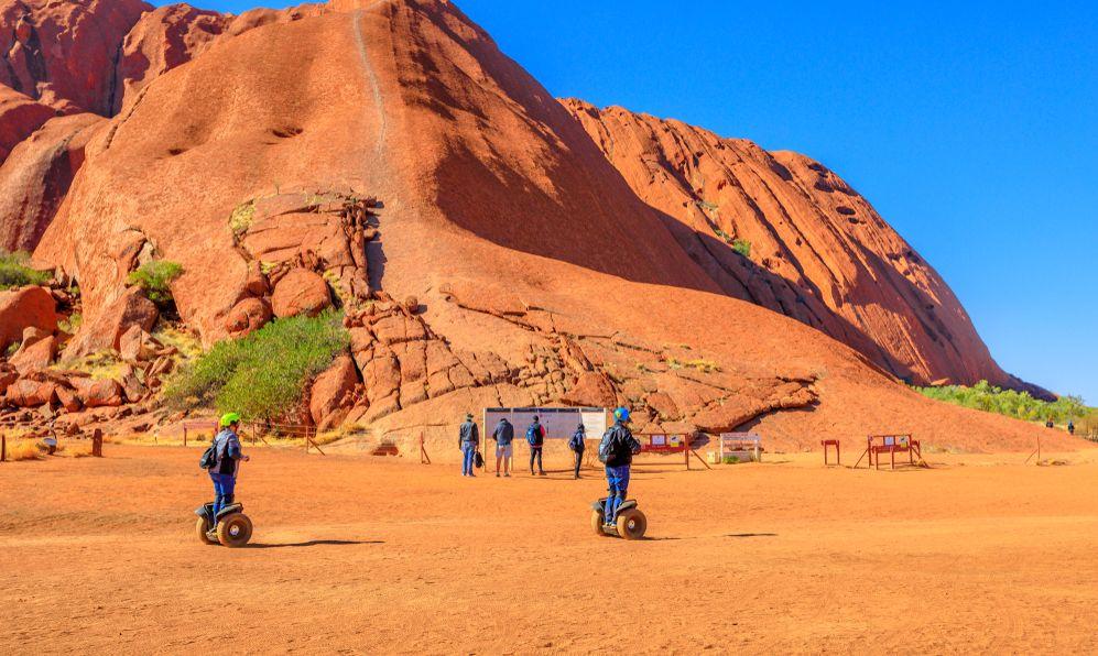 Uluru Segway Tours at Mala Parking in front of Ayers Rock Climb in Uluru-Kata Tjuta National Park Aboriginal Land.