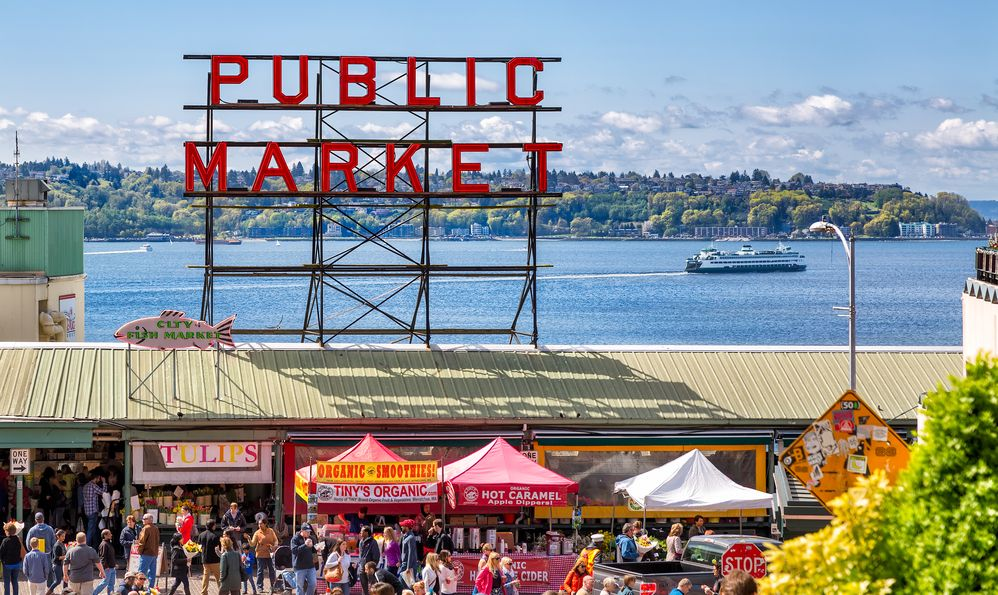 Historic Pike Place Public Market is one of the top attractions in Seattle, where locals and tourists shop for locally sourced, artisanal and specialty foods, flowers and crafts.