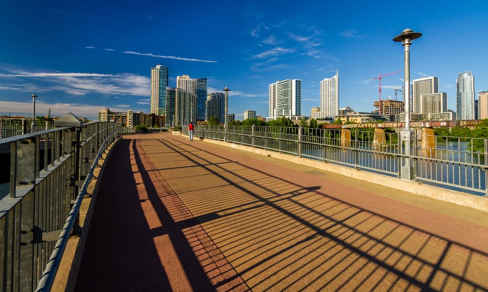 The James D. Pfluger Pedestrian and Bicycle Bridge, opened in 2001, is a pedestrian bridge spanning Lady Bird Lake in downtown Austin, Texas.