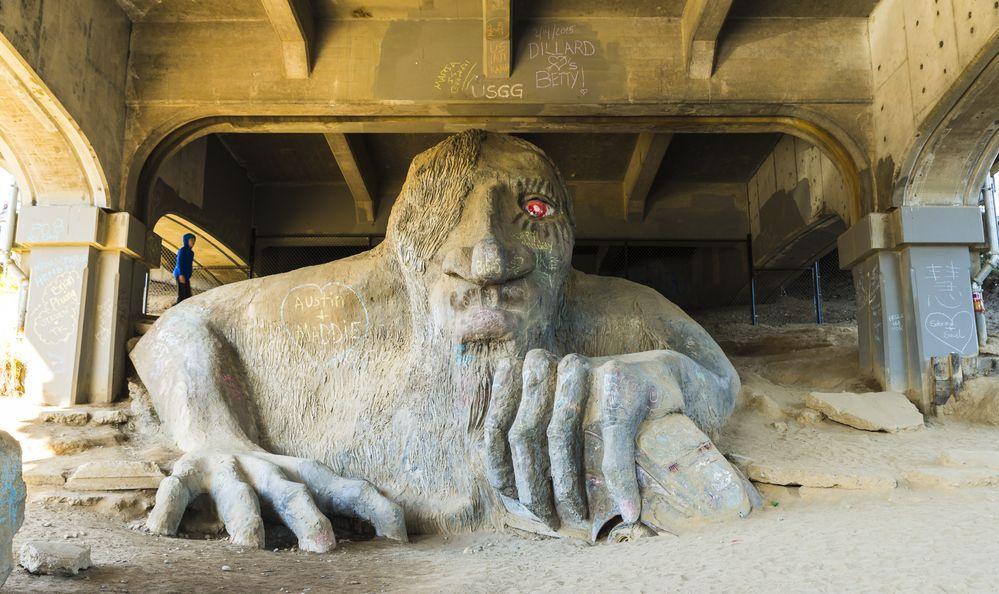 The famous Fremont Troll under the Aurora Bridge, Washington.