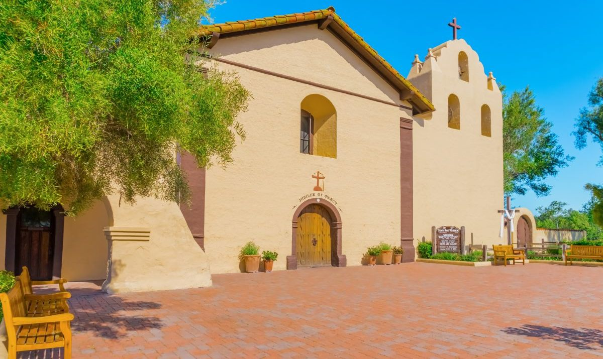 Mission Santa Ines in Solvang, California is among the oldest buildings in the state.