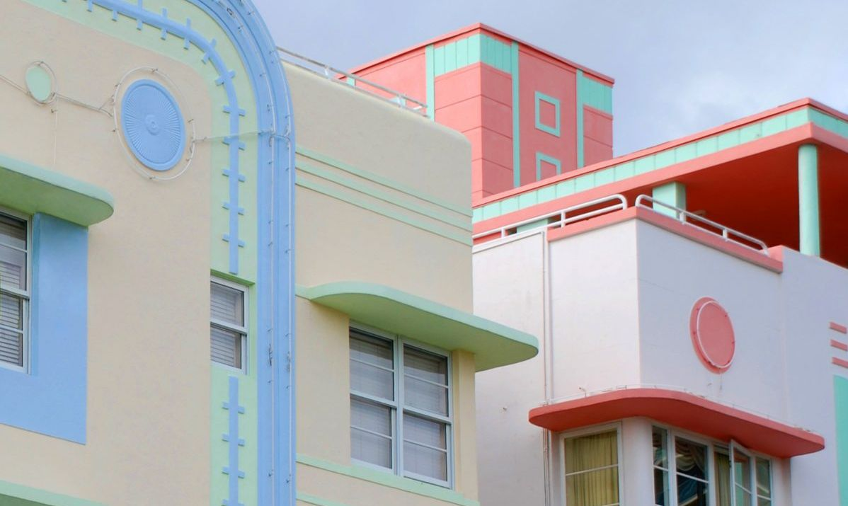 Candy colored art deco buildings in South Beach, Florida.