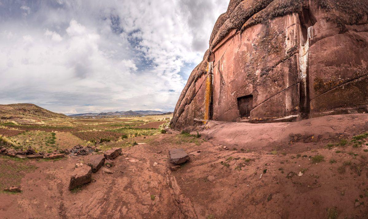 Aramu Muru is a mysterious rock carving near Lake Titicaca