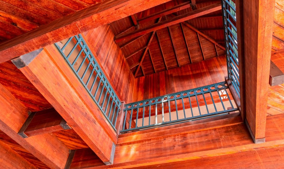 Architectural detail of the timber-framed Old Town Temecula Community Theater.