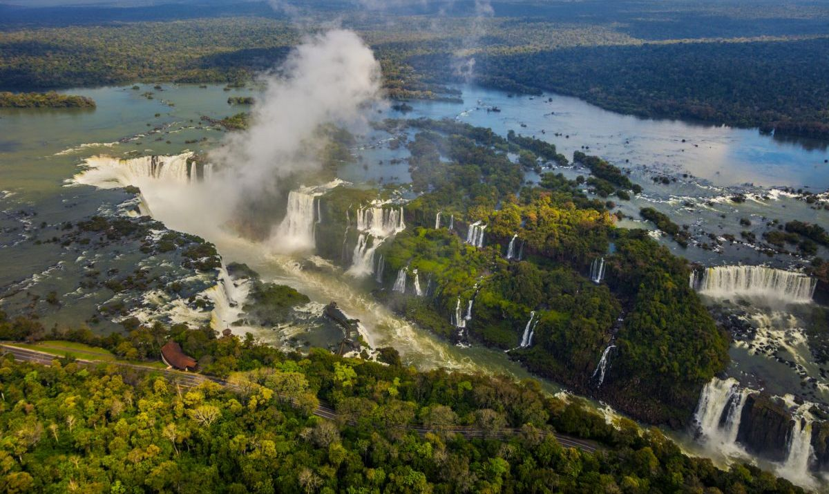 This aerial view barely captures the massive Iguazu Falls complex in its entirety.