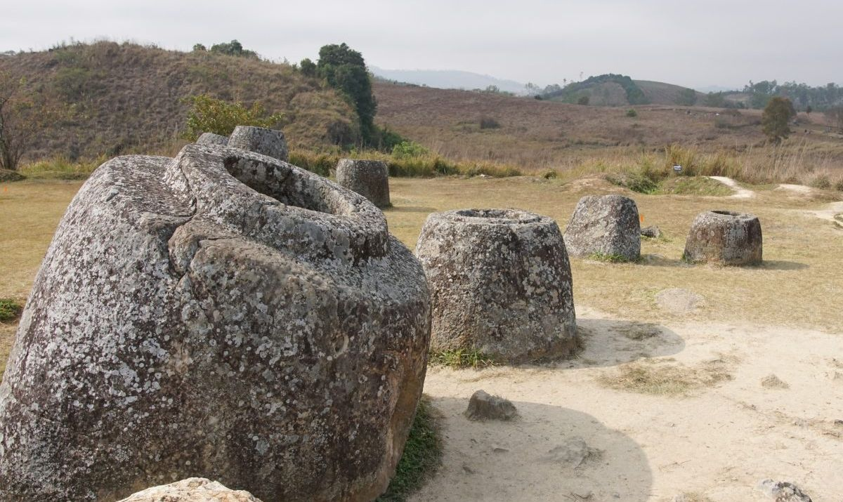 The mysterious Plain of Jars in a remote region of Laos.