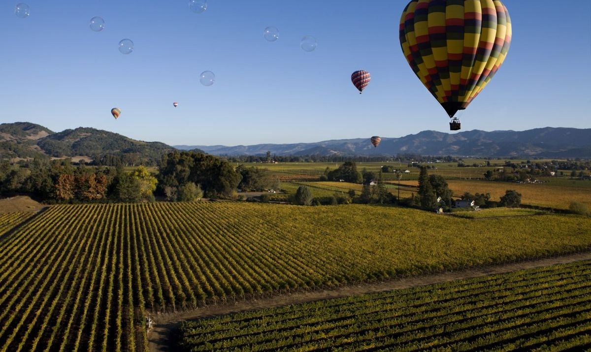 The Napa Valley by balloon offers unique perspectives.