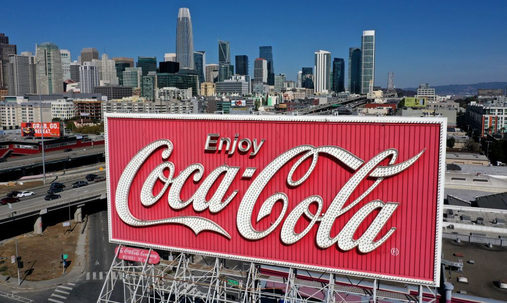 SAN FRANCISCO, CALIFORNIA - OCTOBER 26: An aerial drone view of a Coca-Cola billboard in the South of Market Area on October 26, 2020 in San Francisco, California. A Coca-Cola billboard that has been park of San Francisco's South of Market landscape since 1937 is slated to be taken down by the Coca-Cola company. The removal will cost an estimated $100,000.