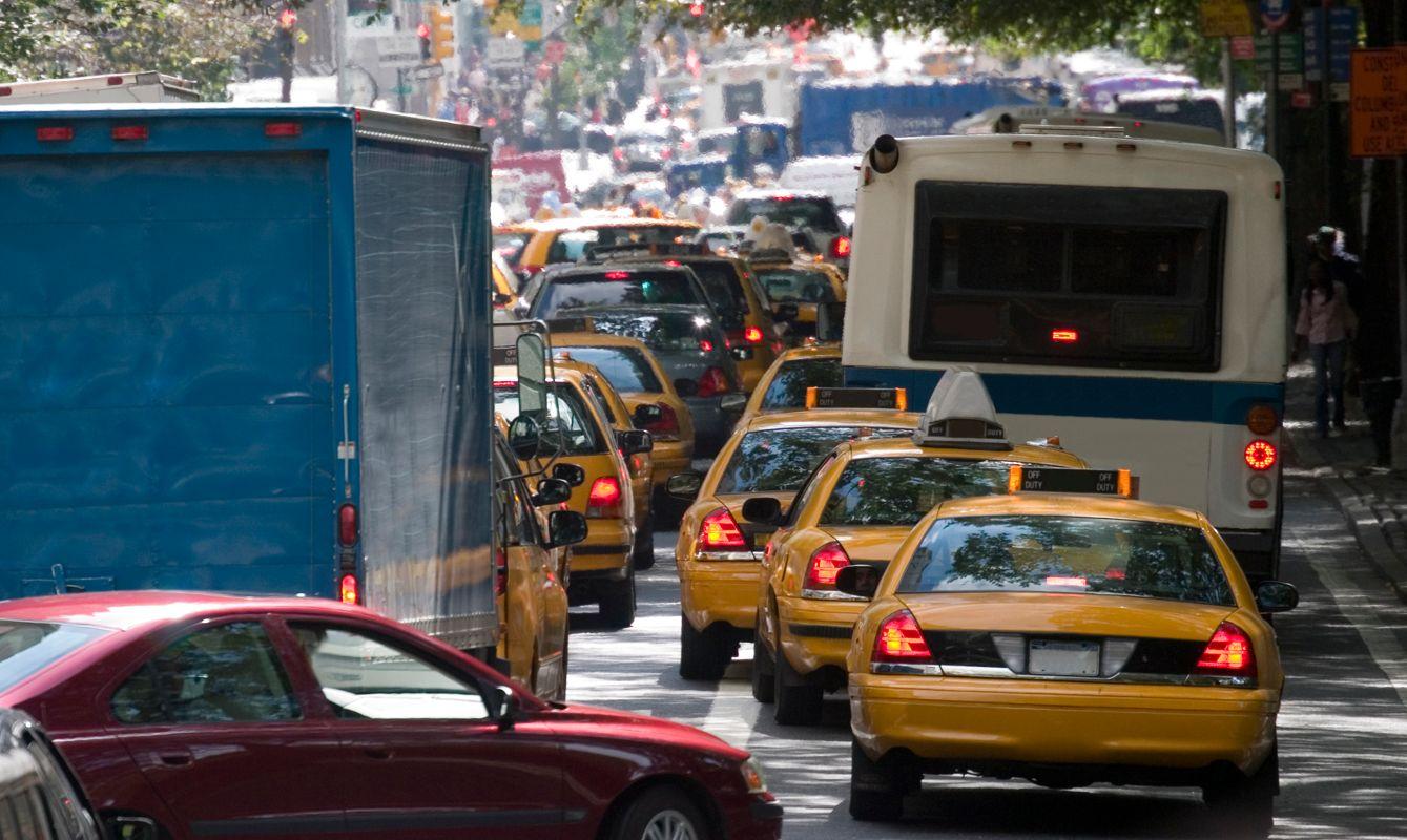 Traffic jam during rush hour in New York City.