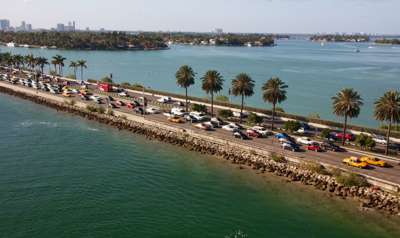 Traffic jam on a highway dam in Miami, FL, USA.